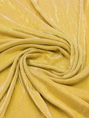 Трикотаж плиссе золотого оттенка с глиттером (6421) - Фото 10