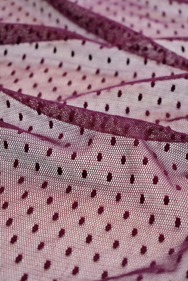 Сетка бордовый оттенок в горошек (6434) - Фото 7