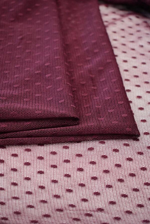 Сетка бордовый оттенок в горошек (6434) - Фото 8