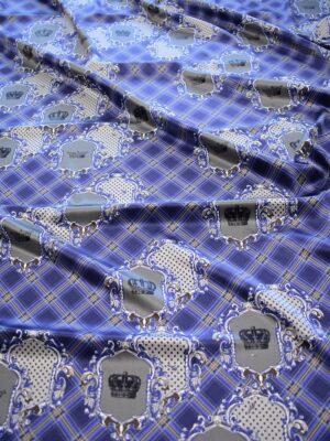 Шелк атласный стрейч синий в клетку с коронами (6441) - Фото 14