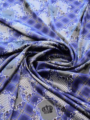 Шелк атласный стрейч синий в клетку с коронами (6441) - Фото 15