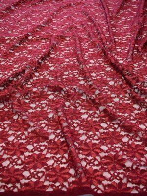 Гипюр с цветочным узором бордовый оттенок (6449) - Фото 10