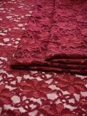 Гипюр с цветочным узором бордовый оттенок (6449) - Фото 11