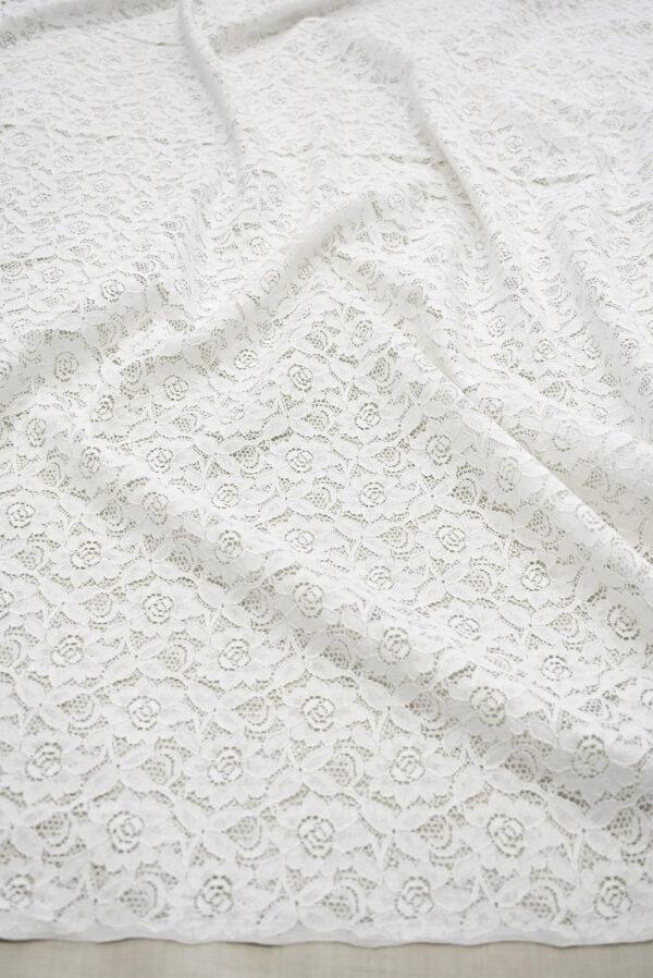 Кружево белое с цветочным узором (6452) - Фото 6