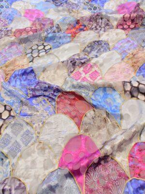 Шелк деворе яйца фаберже в голубых и розовых оттенках (6475) - Фото 16
