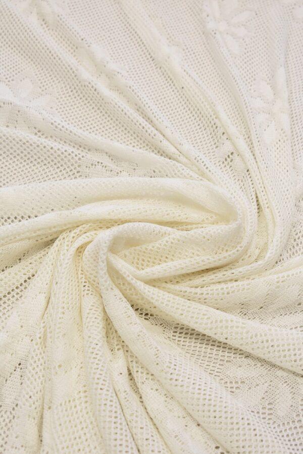 Трикотаж сетка молочный с цветами (6492) - Фото 9