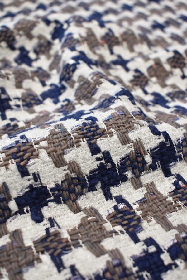 Твид белый с синей и коричневой куриной лапкой (6572) - Фото 10