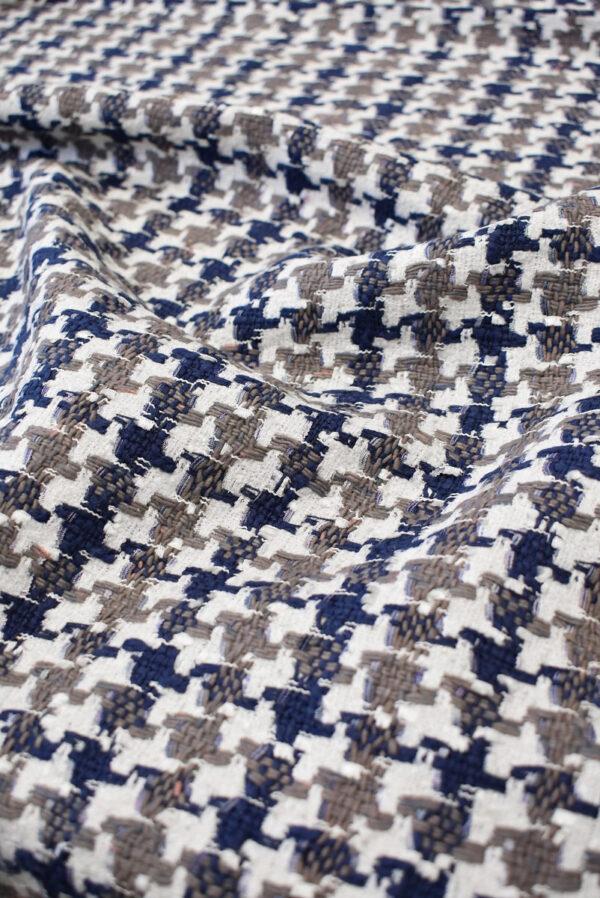 Твид белый с синей и коричневой куриной лапкой (6572) - Фото 6