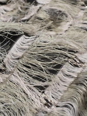Органза шелк черная с бежевой травкой (6576) - Фото 14