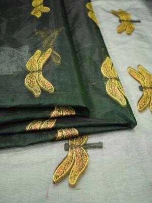 Органза с вышивкой стрекозы на темно-зеленом фоне (6580) - Фото 12