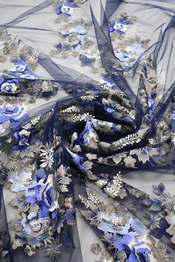 Вышивка на сетке бежевые и синие цветы (6614) - Фото 8