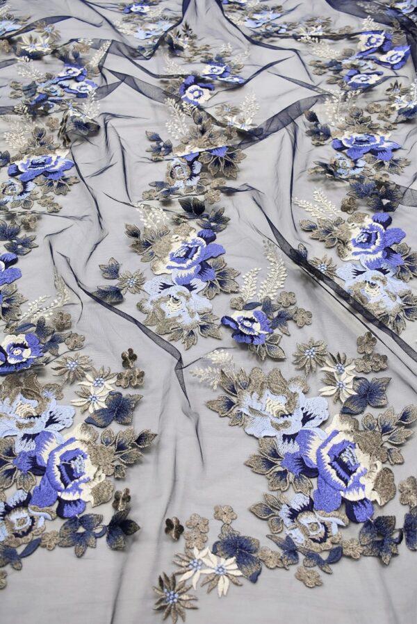 Вышивка на сетке бежевые и синие цветы (6614) - Фото 6