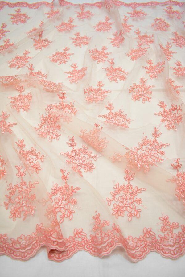 Кружево персиковое с цветами и фестонами (6629) - Фото 6