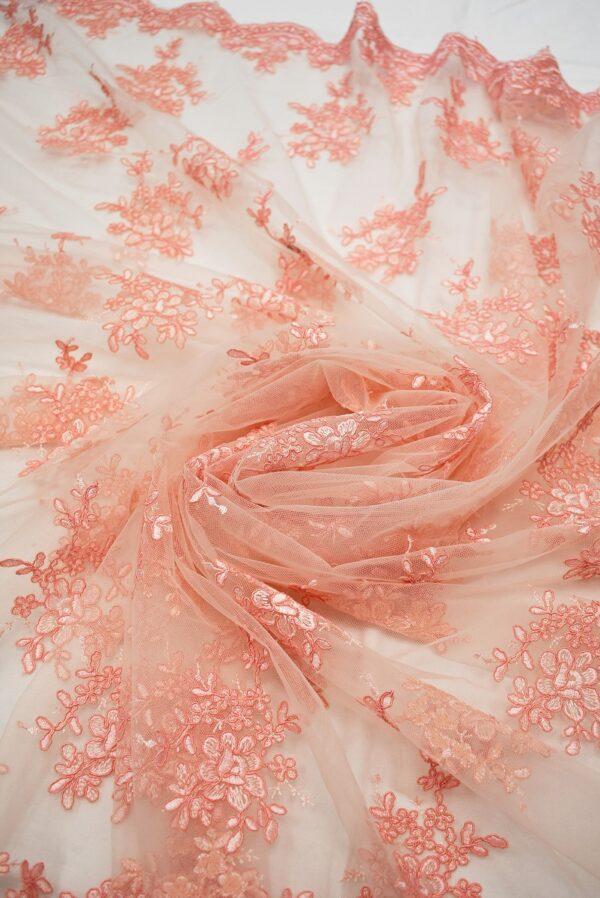 Кружево персиковое с цветами и фестонами (6629) - Фото 9