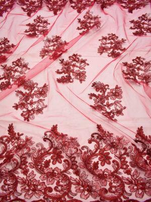 Кружево сутажное бордовое с цветами и фестонами (6642) - Фото 12