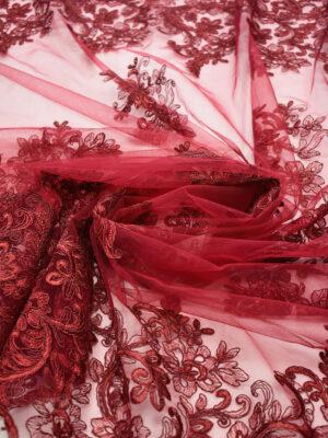 Кружево сутажное бордовое с цветами и фестонами (6642) - Фото 13