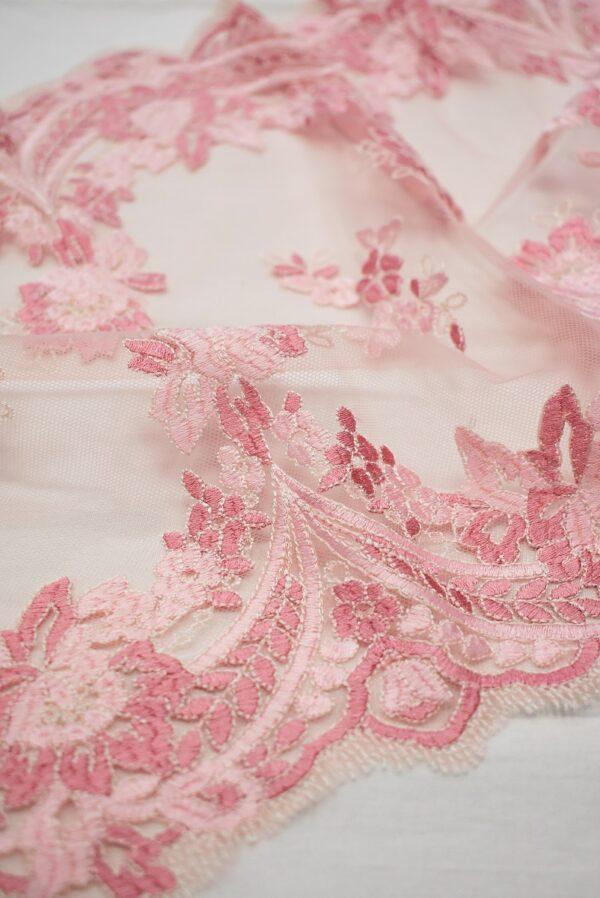 Кружево розовое с цветами и фестонами узкое (6665) - Фото 8