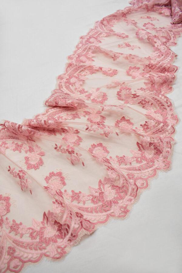 Кружево розовое с цветами и фестонами узкое (6665) - Фото 6