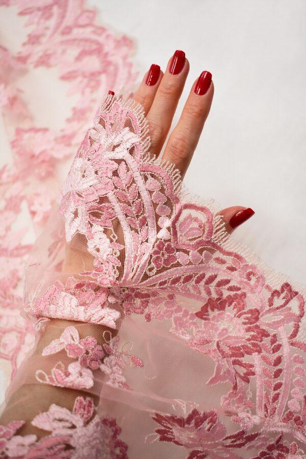 Кружево розовое с цветами и фестонами узкое (6665) - Фото 7