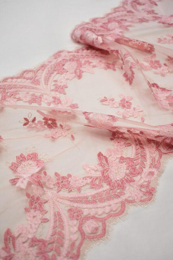 Кружево розовое с цветами и фестонами узкое (6665) - Фото 10