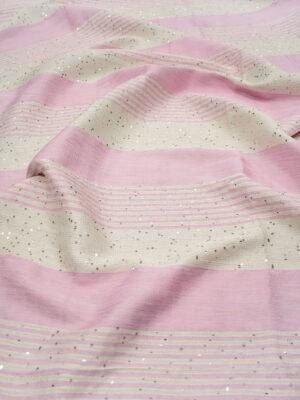 Рогожка в розовую и молочную полоску с мелкими пайетками (6717) - Фото 11