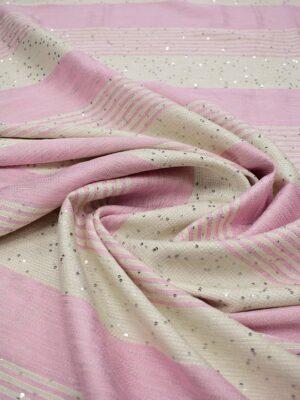 Рогожка в розовую и молочную полоску с мелкими пайетками (6717) - Фото 12
