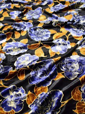 Бархат шелковый черный с синими цветами и листьями (6765) - Фото 12