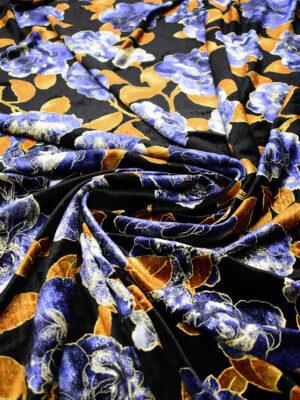 Бархат шелковый черный с синими цветами и листьями (6765) - Фото 13