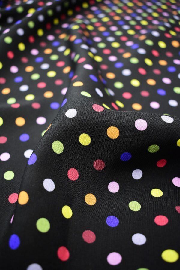Штапель черный в разноцветный горошек (6778) - Фото 10
