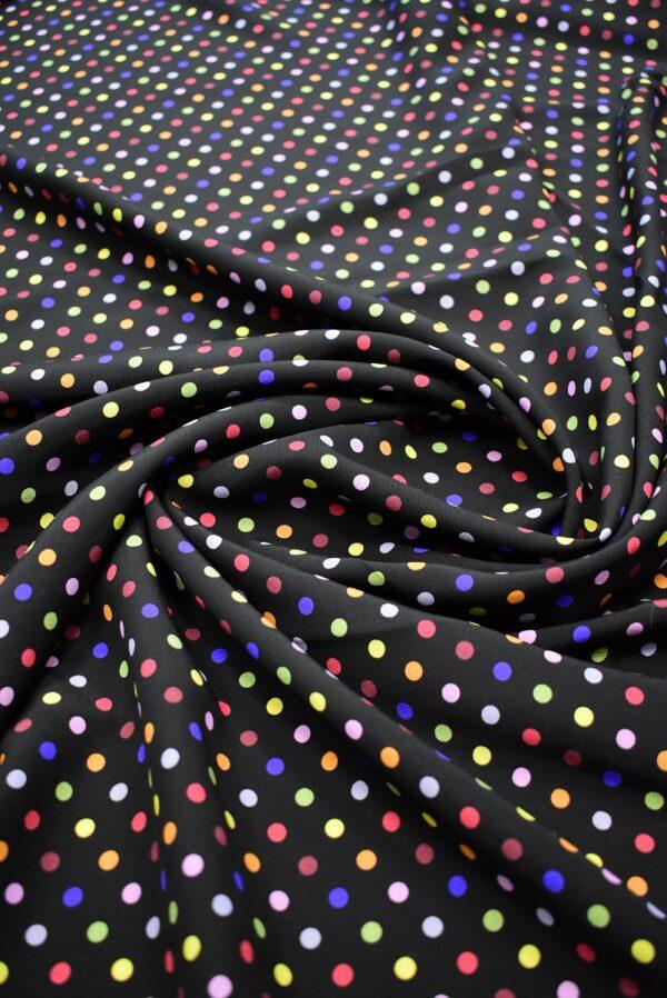 Штапель черный в разноцветный горошек (6778) - Фото 9