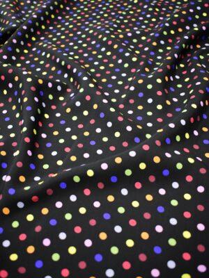 Штапель черный в разноцветный горошек (6778) - Фото 16