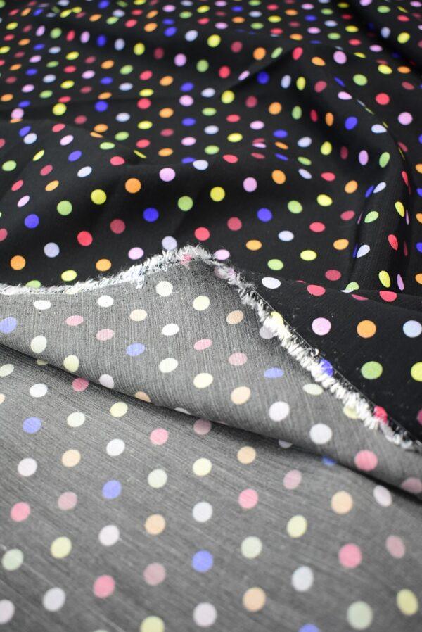 Штапель черный в разноцветный горошек (6778) - Фото 8