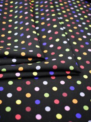 Штапель черный в разноцветный горошек (6778) - Фото 17