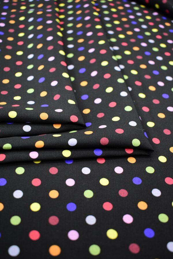 Штапель черный в разноцветный горошек (6778) - Фото 7