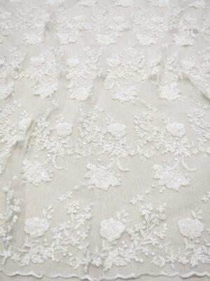 Кружево молочно-белое с цветами бисер стеклярус (6876) - Фото 11