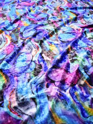 Бархат стрейч абстрактный морской принт (6900) - Фото 13