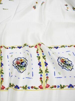 Органза шелк молочно-белая плитка майолика (6913) - Фото 12