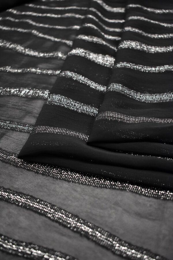 Шифон в полоску с серебристым люрексом (6932) - Фото 7