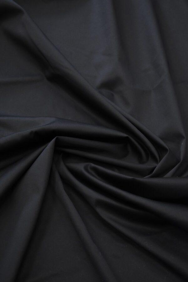 Сатин стрейч черный с матовым блеском (6945) - Фото 8