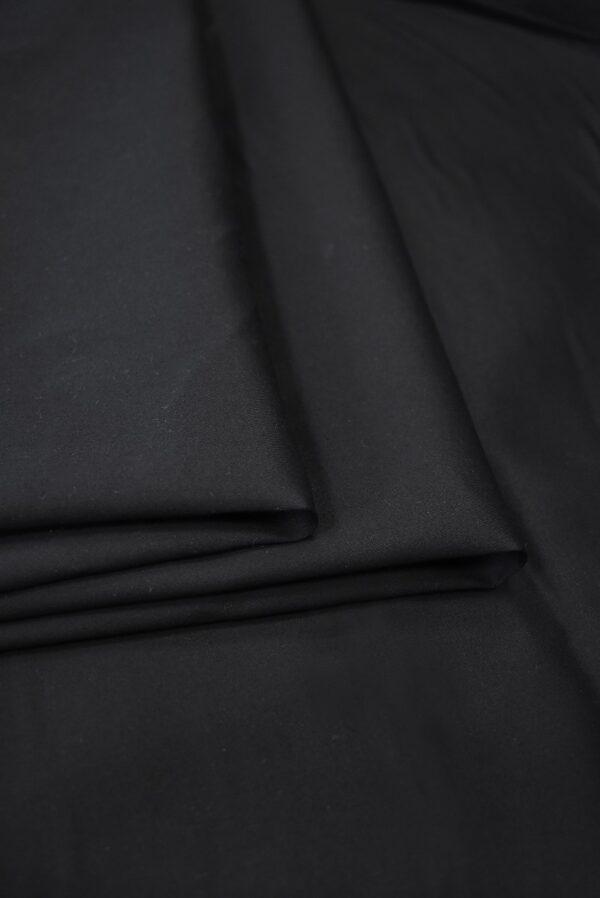 Сатин стрейч черный с матовым блеском (6945) - Фото 9
