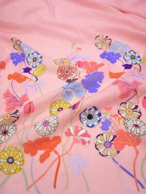 Марлевка купон яркие цветы на розовом фоне (6951) - Фото 11