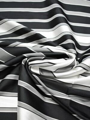 Тафта в черную серую и белую полоску с блеском (6959) - Фото 13