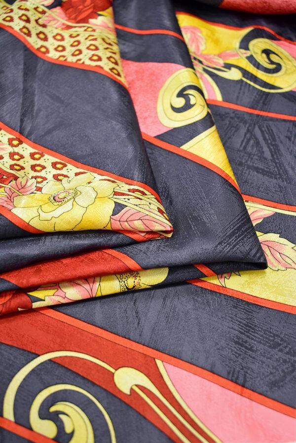 Шелк галстучный серо-синий в диагональную полоску с цветами (6992) - Фото 10