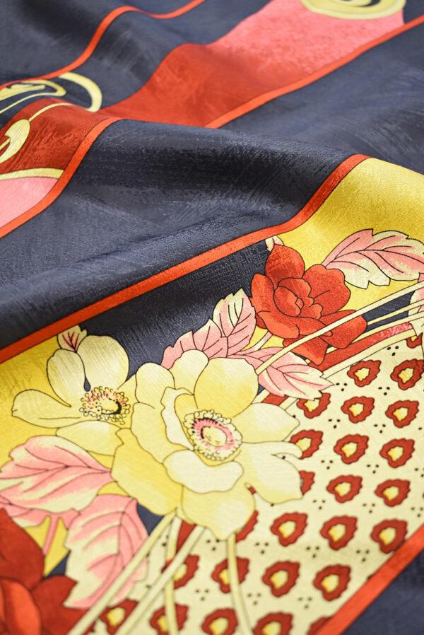 Шелк галстучный серо-синий в диагональную полоску с цветами (6992) - Фото 11
