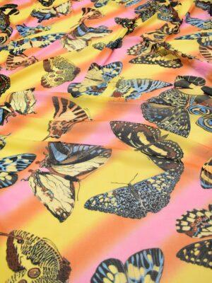 Трикотаж сетка бабочки на желто-оранжевом фоне (7006) - Фото 13