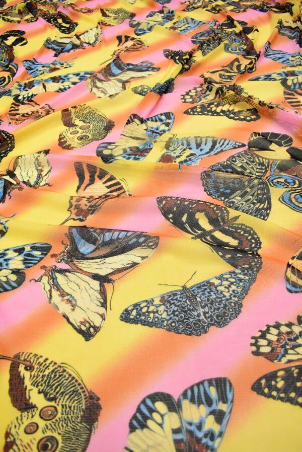 Трикотаж сетка бабочки на желто-оранжевом фоне (7006) - Фото 6