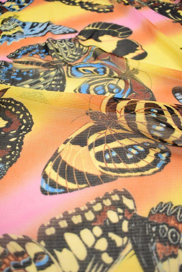 Трикотаж сетка бабочки на желто-оранжевом фоне (7006) - Фото 11