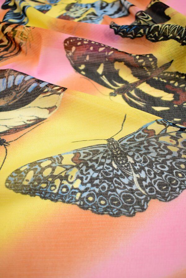 Трикотаж сетка бабочки на желто-оранжевом фоне (7006) - Фото 9