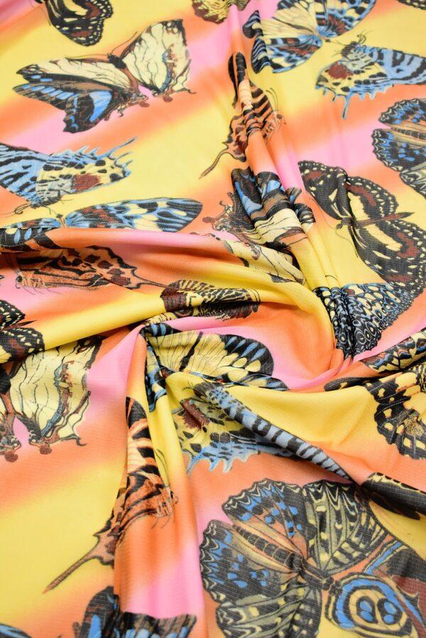 Трикотаж сетка бабочки на желто-оранжевом фоне (7006) - Фото 8
