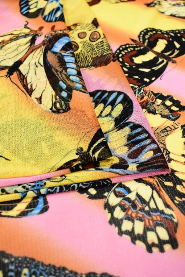 Трикотаж сетка бабочки на желто-оранжевом фоне (7006) - Фото 10